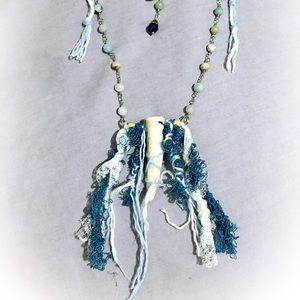 Handcrafted deer antler necklace OOAK